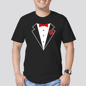 Funny Tuxedo [red bow] Men's Fitted T-Shirt (dark)